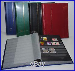 5 Albums timbres Classeurs LEUCHTTURM 64 Pages noires 5000 Timbres (réf BASIC)