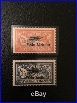 AVO! 1421 FRANCE aviation merson surchargé timbres PA 1/2 TB centrage signé