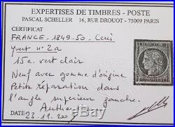 À VOS OFFRES! 2 FRANCE timbre ceres 2 a gomme dorigine certificat Scheller