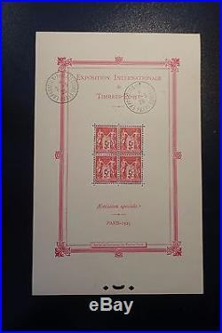 BLOC FEUILLET N°1b CACHET EXPOSITION PARIS NEUF GOMME D'ORIGINE COTE 1400