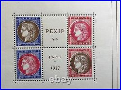 Bloc Timbre YT BF 3 France 1937 neuf. Exposition Paris (PEXIP) 1937. 8 scans