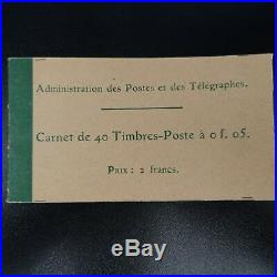CARNET 137-C 3 / 40 TIMBRES SEMEUSE N°137 5 cts VERT NEUF LUXE MNH