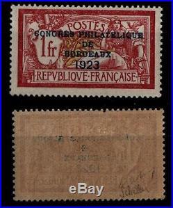 CONGRES Philatélique BORDEAUX 1923 Signé, Neuf = Cote 575 /Timbre France 182