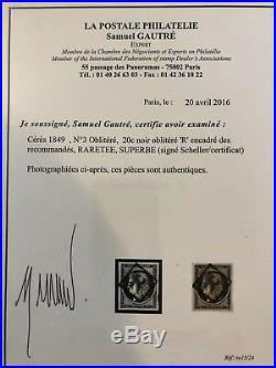 Ceres 1849 N3 20 cts noir oblitéré lettre R Encadré des recommandés