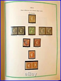 Collection timbres de France 1849 à 1979 dt 1à6,9x2,33,182,188A, 321, caisses