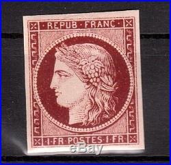 Cpx-2000 France 1849 N°6 Le Tres Rare Ceres 1f N. Dentele Imperf Mnh CV 15000