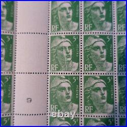 FEUILLE MARIANNE DE GANDON N°717 x100 VARIÉTÉ PLI ACCORDÉON NEUF MNH COTE 319