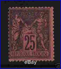FRANCE 1877-80 Y&T 91 SAGE 25c NOIR S. ROUGE NEUFxxTTB