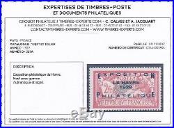 FRANCE 1929. Le Havre N°257A neuf X et très beau. Certificat Calves. 875 C200