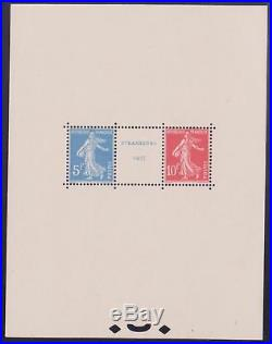 FRANCE BLOC FEUILLET 2 EXPOSITION STRASBOURG 1927 NEUF xx LUXE VALEUR 3500