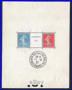 FRANCE BLOC FEUILLET 2 a STRASBOURG 1927 NEUF AVEC CACHET EXPOSITION M443
