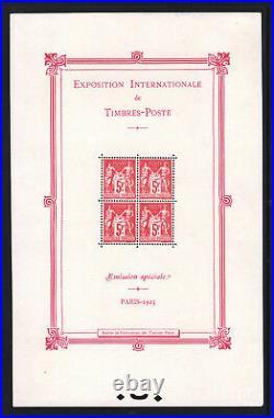 FRANCE BLOC FEUILLET YVERT N° 1 EXPOSITION PARIS 1925 NEUF xx LUXE T602