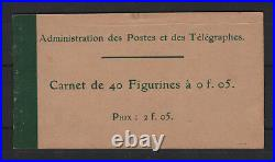 FRANCE CARNET 111 C1 TYPE BLANC 5c VERT 40 TIMBRES NEUF xx TB A VOIR T384