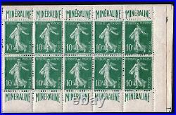 FRANCE CARNET 188 C1 SEMEUSE 10c MINERALINE 10 TIMBRES NEUF xx TTB R499