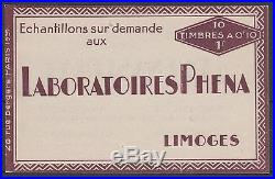 FRANCE CARNET N° 188-C2 PHENA INCOMPLET 4 TIMBRES 1927 NEUFS xx SUP J057