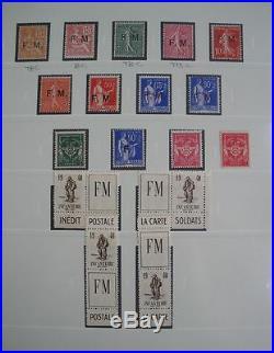 FRANCE COLLECTION COMPLETE TIMBRES DE FRANCHISE MILITAIRE NEUFS xx 1901-1958