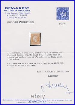 FRANCE NAPOLEON YT 13 c 10c BITRE-BRUN N SIGNE CALVES DEMAREST CERTIFICAT 950