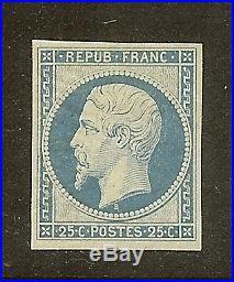 FRANCE N°10 LOUIS NAPOLEON 25C BLEU NEUF x TB A VOIR