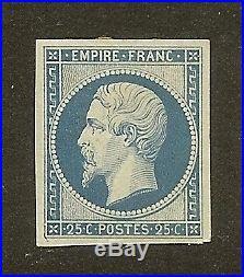 FRANCE N°15 NAPOLEON III 25C BLEU NEUF x TB A VOIR