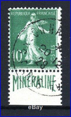 FRANCE N° 188 A SEMEUSE 10c BANDE PUBLICITAIRE MINERALINE OBLITERE TB T241