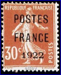 FRANCE PREOBLITERE TIMBRE STAMP 38 SEMEUSE 30c POSTE FRANCE 1922 NEUF (x) TB