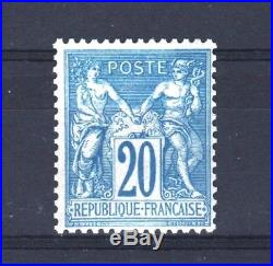 FRANCE STAMP 73 SAGE 20c BLEU NON EMIS REIMPRESSION ANCIENNE NEUF xx TTB T322