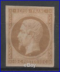 FRANCE STAMP N° 9 e LOUIS-NAPOLEON 10c BISTRE-BRUN 1862 NEUF x TTB N709