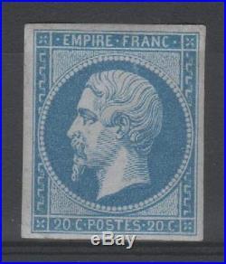 FRANCE STAMP TIMBRE 14 A NAPOLEON III 20c BLEU TYPE I NEUF xx TB SIGNE P585