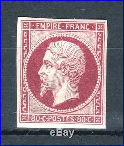 FRANCE STAMP TIMBRE 17 Ah NAPOLEON III 80c CARMIN 1862 NEUF x TB SIGNE P370