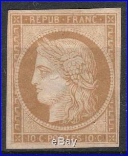 FRANCE STAMP TIMBRE 1 CERES 10c BISTRE- JAUNE 1850 NEUF (x) TB A VOIR M240