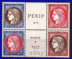 FRANCE STAMP TIMBRE 348 / 351 CERES EXPOSITION PEXIP 1937 NEUFS xx TTB P770