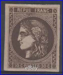 FRANCE STAMP TIMBRE 47 b CERES BORDEAUX 30c BRUN NOIR NEUF TTB SIGNE N815