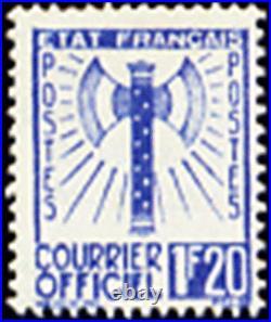 FRANCE STAMP TIMBRE DE SERVICE YVERT N° 7 FRANCISQUE 1F20 BLEU NEUF xx TTB