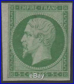 FRANCE STAMP TIMBRE N° 12 NAPOLEON III 5c VERT 1854 NEUF x TTB, VALEUR1300