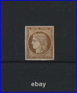 FRANCE STAMP TIMBRE N° 1 a CERES 10c BISTRE BRUN 1850 NEUF x TB R866