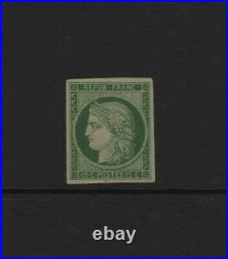 FRANCE STAMP TIMBRE N° 2 CERES 15c VERT 1850 NEUF RESTAURE A VOIR T776
