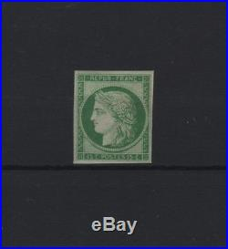 FRANCE STAMP TIMBRE N° 2 CERES 15c VERT 1850 NEUF x TB SIGNE A VOIR R867