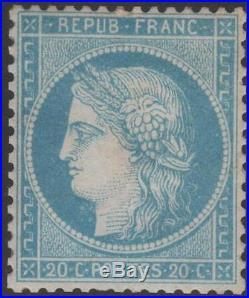 FRANCE STAMP TIMBRE N° 37 CERES 20c BLEU SIEGE DE PARIS 1870 NEUF xx TB J986