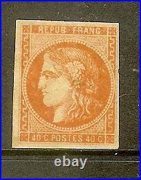 FRANCE STAMP TIMBRE N° 48 CERES BORDEAUX 40c ORANGE NEUF x TB SIGNE