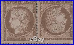 FRANCE STAMP TIMBRE N° 58 c CERES 10c BRUN SUR ROSE PAIRE TETE BECHENEUFx TB