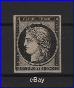 FRANCE STAMP TIMBRE YVERT N° 3a CERES 20c NOIR S. BLANC 1849 NEUF (x) TB T552