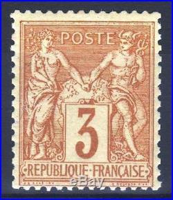 FRANCE STAMP TIMBRE YVERT N° 86 SAGE 3c BISTRE SUR JAUNE NEUF xx TTB M994