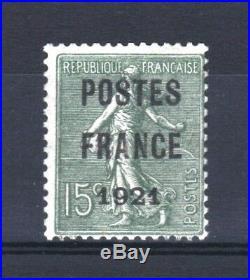 FRANCE TIMBRE PREOBLITERE 34 SEMEUSE 15c POSTES FRANCE 1921 NEUF xx TB T147