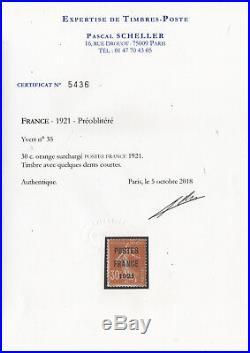 FRANCE TIMBRE PREOBLITERE 35 SEMEUSE 30c POSTES FRANCE 1921 NEUF (x) TB T605