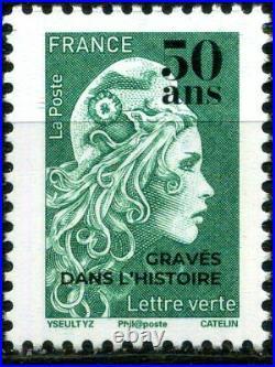 Feuille Marianne L'engagee Vert Surchargee 50 Ans Graves Dans L'histoire Neuf