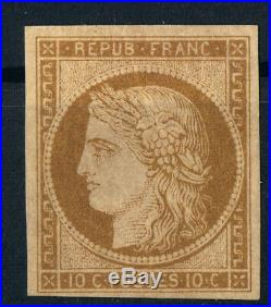 France 1849-50 Cérès N°1 bistre-brun Neuf signé A. Brun GNO
