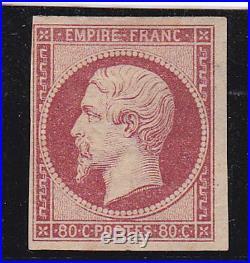 France 1854. Rare 80ct Carmin Fonce Neuf X. Timbre Avec Certificat Brun 10000