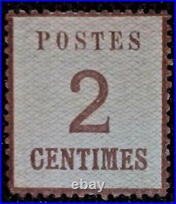 France 1870 Alsace-Lorraine 2 Cts BRUN Neuf Signé Calves