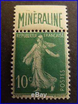 France #188A Type Semeuse 10c vert avec publicite MINERALINE N Cote 500 Euros