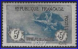 France 1ere Orphelins de la guerre n°155 fr + 5FR avec charnière très bon centr